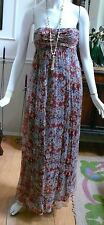 "1990 ""Zara"" Folkloric Bohemian Strapless  Floral Silk long Formal evening Dress"