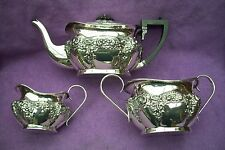 EDWARDIAN SOLID SILVER TEA SET - FULL SIZE -910g - BIRMINGHAM 1904 - MAKER J.G