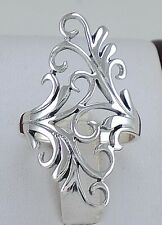 ELEGANT .925 STERLING SILVER LONG FILIGREE FLORAL RING size 10  style# r2208