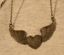 Striking Bead Textured Etched Brasstone Angel's Wings Pendant Necklace