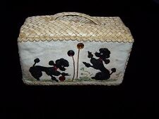 Vintage POODLEs BASKET Purse Straw Lovely Appliques Beads Rhinestones Brocade
