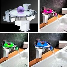 Unique Desig Brass Waterfall RGB LED Bathroom Sink Faucet Basin Mixer Tap Chrome