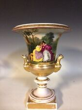 Ant. Old Paris Porcelain HP Scenic Campagna Urn W/Raised Gilt-Mask Handles