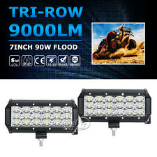 2X TRI-ROW CREE 7INCH 90W LED WORK LIGHT BAR FLOOD OFFROAD FIT FOR DODGE GMC 4WD