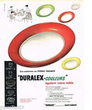 PUBLICITE ADVERTISING 085  1956  DURALEX SAINT-GOBAIN les assiettes couleurs