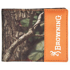 BROWNING & MOSSY OAK INFINITY CAMO CANVAS BIFOLD BILLFOLD - WALLET BLAZE ORANGE