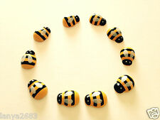 20 x Bumble Bee's Black and Yellow Colour Wooden Flatback Cabochon