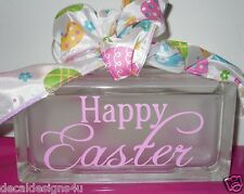Happy Easter Pink Decal Sticker for Glass Block DIY Crafts