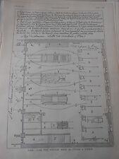 Gravure 1882 - Paris Plan d'un nouveau poste de Pompes à Vapeur
