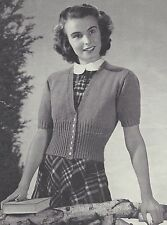 Vintage Knitting PATTERN to make 40s Shorty Cardigan Sweater Ribbed Waist Sleeve