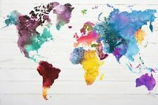 WORLD MAP IN WATERCOLOURS POSTER (91x61cm)  NEW WALL ART