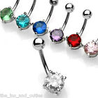 Solitaire Gem Belly Ring Navel Naval Blue, Green, Pink, Purple, Red, Aqua, Clear