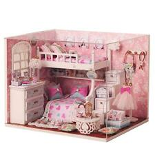 Kids Wood Dollhouse Miniature with LED+Furniture+Cover Doll House Room DIY Decor