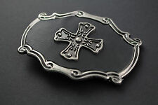 NORSE CROSS ON BLACK LEATHER BACKGROUND BELT BUCKLE METAL