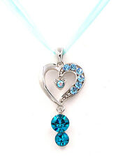 Swarovski Elements Crystal Aquamarine Silver Love Heart Sheer Lace Necklace Gift