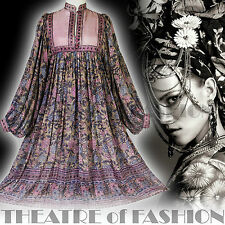 VINTAGE INDIAN DRESS PHOOL 70s SILK WEDDING 8 10 12 14 16 HIPPY BOHO S M L GAUZE