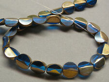 1 Strand Blue Gold 12mm  Coin  Shaped Crystal Beads 27/Strand(X3i71)