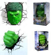 Top Marvel Avengers HULK Face/Head & Fist 3D Deco LED Wandleuchten Nachtlampe