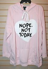 NEW WOMENS PLUS SIZE 3X LIGHT PINK NOPE. NOT TODAY WARM FLEECE PULLOVER HOODIE