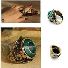Stylish Vintage Retro Charm Turquoise Big Green Emerald Rhinestone Gem Ring Hot