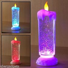 25cm SWIRLING LED COLOUR CHANGING FLAMELESS GLITTER CANDLE LIGHT XMAS LIGHTS