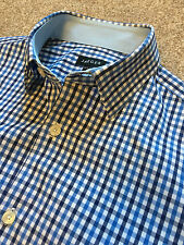 GORGEOUS JAEGER BLUE GINGHAM CLASSIC FIT SHIRT 14.5 COLLAR COST £90