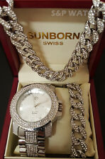 Men HipHop Iced Out White Gold Lab Diamond WATCH & Cuban Bracelet & Necklace Set