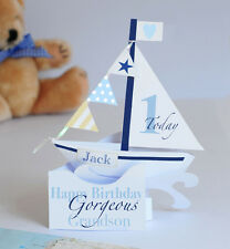 Personalised Handmade Pop-up Sailing Boat Card for a  Baby Boy's 1st Birthday.
