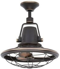 NEW Distressed Bronze Outdoor Oscillating Ceiling Fan Wall Control Rustic Metal