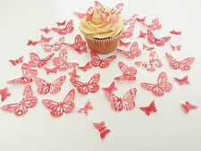 48 Edible Raspberry Heaven Butterflies Pre Cut Wafer Cupcake Toppers