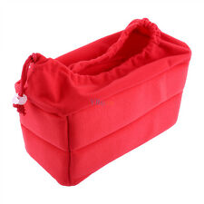 Red SLR Camera Bag Partition Padded Insert Protection Case Fit for DSLR + 2 LENS