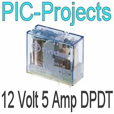 12V Relay coil 5 Amp contacts Double pole change over 5A volt PCB mount DPDT
