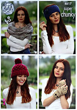 KNITTING PATTERN Ladies Shawl Hat Headband Wristwarm Super Chunky King Cole 4617