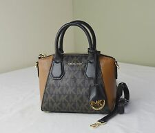 Michael Kors Black Brown Signature Campbell XS Satchel Crossbody