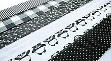10 x BLACK WHITE PANDA Fabric Jelly Roll Strips Polycotton Patchwork Quilting