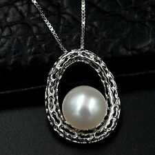 10m White Freshwater Pearl Pendant Necklace Chain 925 Sterling Silver 07520