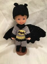 Barbie Kelly Tommy BATMAN  dressed doll in tiny crochet costume/cape stand