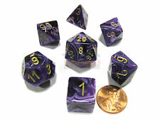 Polyhedral 7-Die Vortex Chessex Dice Set - Purple with Gold Numbers