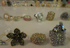 Wholesale Lot Bulk 6 Rings Assorted Fashion Cocktail Rhinestone Crystal Mix NWT