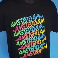 Rare AMSTERDAM Vintage Tshirt RETRO 80s DUTCH 90s DJ Party EDM Neon DRUGS Sz L
