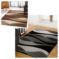 Modern Waves Design Brown Beige and Black Grey Area Rug in 2 Sizes Large Carpet