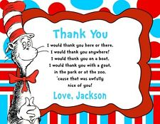 Cat in the Hat Birthday Party Thank You Note Cards Personalized