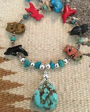 FETISH NECKLACE HAND CARVED ANIMALS TURQUOISE STONES &TURQUOISE PENDANT 30''