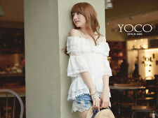 YOCO Womens Open Shoulder Peplum Layered Chiffon Top Japanese/Korean Fashion