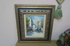 """Vintage Oil on Canvas Painting Signed Garcia 8"""" x 10"""" - 16"""" x 18"""" Framed"""