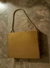 Vintage Gold Tone Compact Make Up Case with strap