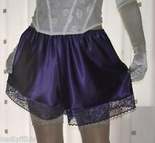 Beautiful silky satin lace purple panties french knickers~boxer brief size large