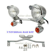 Chrome Motorcycle Spot Light Bar for Bobber Chopper Custom Bike Suzuki Cruiser
