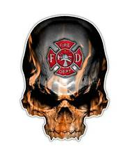 Firefighter Skull Decal - Maltese Cross Sticker Fire Department Graphic