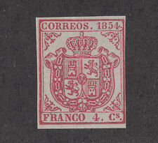 Spain Sc 25 MNG. 1854 4c carmine Coat of Arms, 4 margins, almost VF